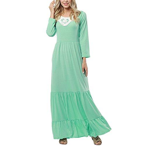 Lover-Beauty Maxi Kleider Damen Elegant Langarm Boho-Kleid Strandkleid Maxikleid Rundhals Ausschnitt Langarmkleid (Party Gorgeous Kleider)