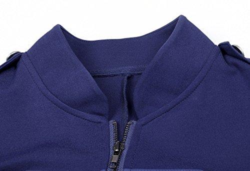 Kate Kasin® Giacche da Donna Con Chiusura a Zip Cappotto Nero Blazer Militari IT464 Blu Navy