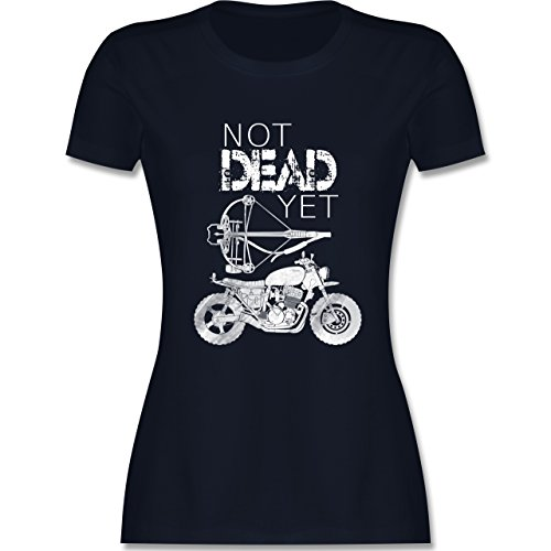 Statement Shirts - Not Dead Yet - Motorrad Armbrust - tailliertes Premium T-Shirt mit Rundhalsausschnitt für Damen Navy Blau
