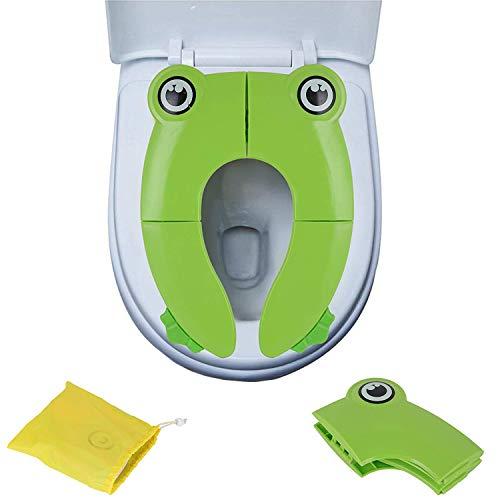GeekerChip Riduttore WC per Bambini,WC Bambini Vasino Portatile e Sedile Pieghevole per Viaggio Vacanze Allenamento con Borsa da Trasporto (Verde)