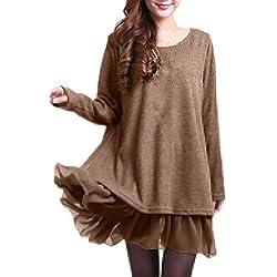 ZANZEA Damen Stricken Chiffon Lace Langarm Jumper Mini Kleid Pullover (EU 36 / US 4, Khaki)
