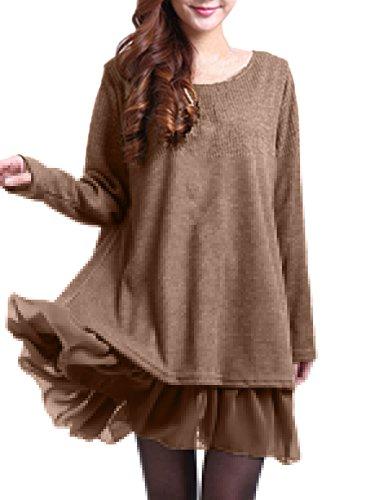 n Chiffon Lace Langarm Jumper Mini Kleid Pullover Khaki EU 48 / US 16 (Damen Stricken Kleider)