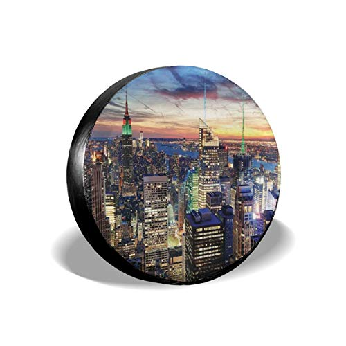 ErwangGo Tire Cover Wheel Covers,Skyline of NYC with Urban Skyscrapers at Sunset Dawn Streets USA Architecture,for SUV Truck Camper Travel Trailer Accessories(14,15,16,17 Inch) 15 Street Cord