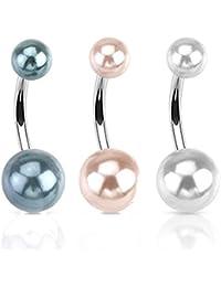 Paula & FRITZ Piercing Nombril en Acier Inoxydable Acier chirurgical 316L Double Perle d'imitation–schwarz. pink. Blanc