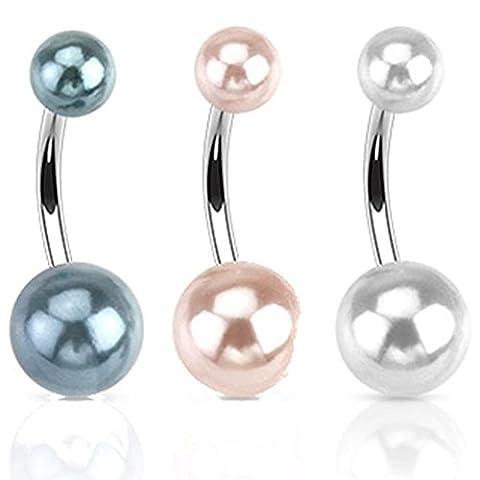 Paula & Fritz® Bauch-nabelpiercing Bananabell Bauch-piercing aus Edelstahl Chirurgenstahl 316L Doppelte Synthetische Perle im Set mit 3 Farben schwarz. pink.