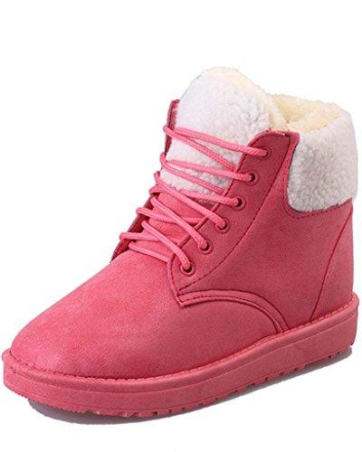 Minetom Donna Inverno Cotone Scarpe Termico Stringate Stivali Heel Piatto