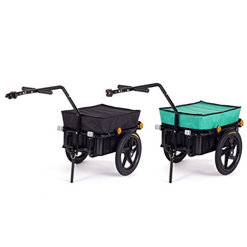 Preisvergleich Produktbild SAMAX Transportanhänger Fahrradanhänger Lastenanhänger Fahrrad Anhänger Handwagen mit Kunststoffwanne für 60 Kg / 70 Liter in Schwarz