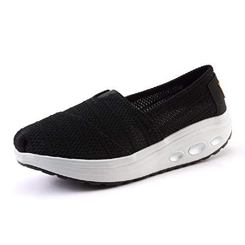 Qiusa Zapatillas de Malla de Malla para Mujer Zapatillas de Deporte Transpirables con Suela basculante Casual (Color : Negro, tamaño : EU 37)