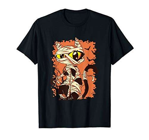 Katzen-t-shirt Zombie Mumie mit Fledermäusen I All Mad - Freche Katze Kostüm
