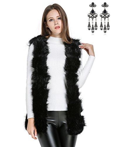 Modetrend Femme Gilet Manteau en Fausse Fourrure Vest Sans Manches Mi-Longue Trench Parka, Noir Taille Unique