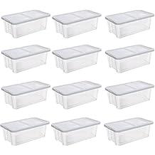 9e11f17774429 SONGMICS Lot de 12 boîtes de Rangement pour Chaussures Transparent avec  Couvercle en Plastique pour Chaussures