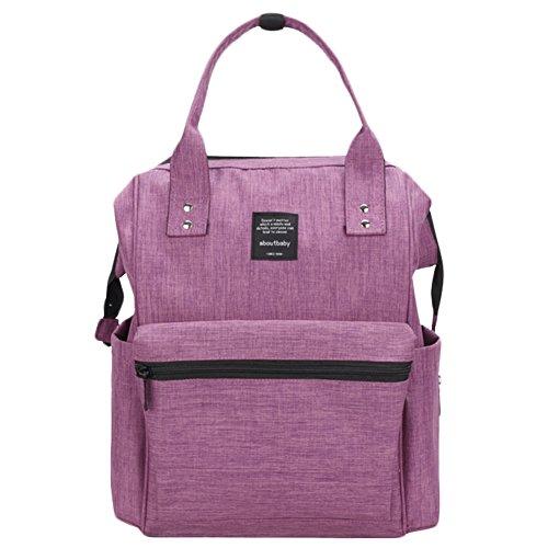 Scheppend Anti-Diebstahl Multi funktionelle Mumie Tasche Travel Rucksack Schulter Windel wechseln Tasche/Rucksack für Männer, Frauen (Lila Mädchen Windel-taschen)