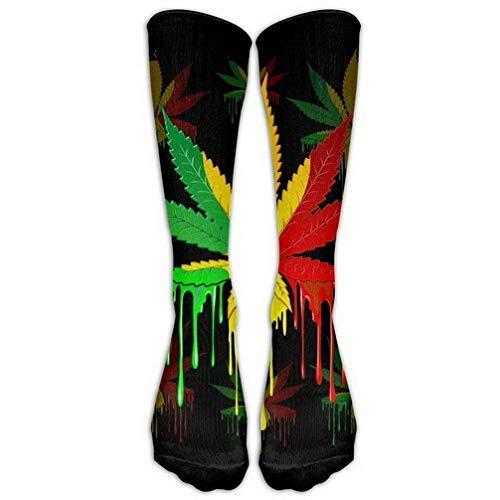 Women Teens Casual Warm Winter Knee High Socks Marijuana Leaf Rasta Colors Dripping Comfort Cool Vent Long Tube Stockings for Athletic Football Rasta Dot