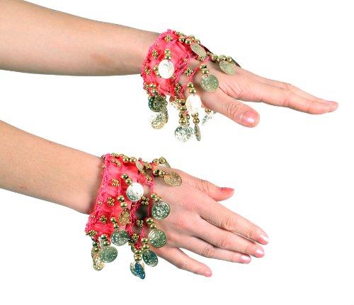 Turkish Emporium Bauchtanz Handkette Armband Handschmuck Armbänder mit Münzen (Paar) NEU fuchsie/gold