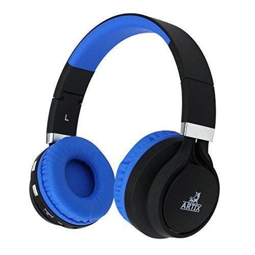 Artix cuffie bluetooth wireless | cuffie leggere e ripiegabili nrgsounds bt5 | per lavoro, viaggio, sport, corsa | cavo da 3.5mm incluso per utilizzo anche con cavo, bambini/ragazzi/adulti - blu e nero