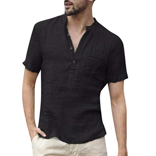Collar Shirts Breathable Black Aiserkly Men's Blouse Trend Linen Soid Baggy Button Down Cotton Retro T Tops Color Sleeve Short RjAL3q54