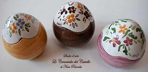 3 uova contenitore porta cioccolatini porta gioielli pasquali realizzati e decorati a mano le ceramiche del castello idea bomboniera made in italy dimensioni 8 x 6,5 centimetri cadauno
