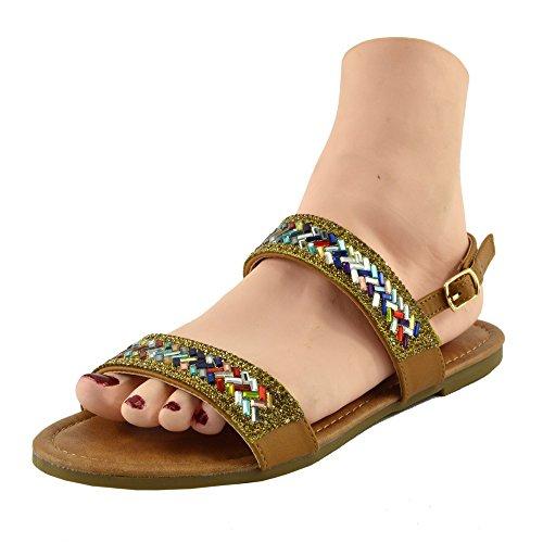 Kick Footwear - DONNE DELLE SIGNORE DI TV GLADIATORE IN ESTATE SPIAGGIA FLIP FLOP VACANZA SANDALI SCARPE Tan