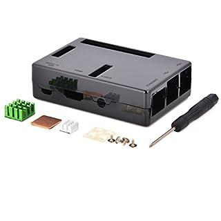 Aukru® schwarz Gehäuse/ Case für Raspberry Pi 3 Model B (die neueste Version 2016) Und Pi 2 Model B Mit 3 set Kühlkörper