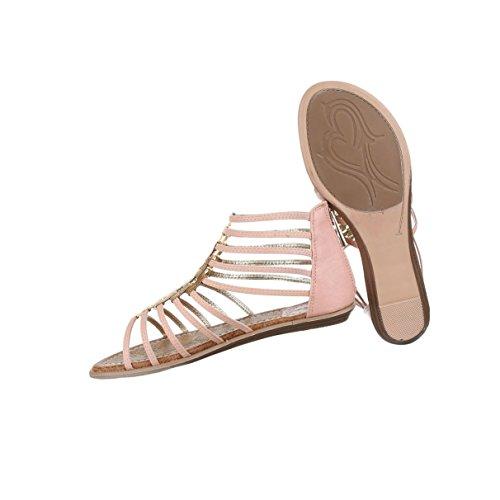 Damen Sandalen Schuhe Sommerschuhe Strandschuhe Riemchen Pumps Weiß Beige Rosa Camel Hellblau 36 37 38 39 40 41 Rosa
