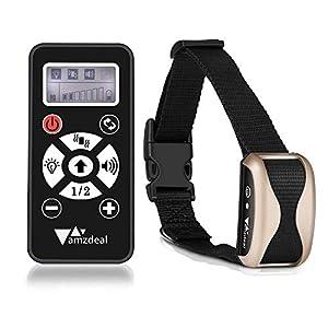 Amzdeal Collier de Dressage pour Chien avec 4 Modes d'Alerte (Bip/Vibration/Lumière/Automatique) - Collier Anti-aboiement Rechargeable LCD Écran avec Télécommande à Portée de 300 Mètres - Or