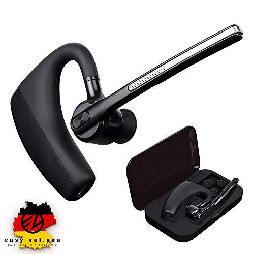 Bluetooth Headset 4.2 für Handy Business zum Telefonieren mit Mikrofon Telefon Auto Büro Etui KFZ 2 Handys Geräte universal Bloototh iPhone 6s 7 Plus X 8 XS XR Samsung S7 S8 S9 S10 Huawei P9 P20 P30