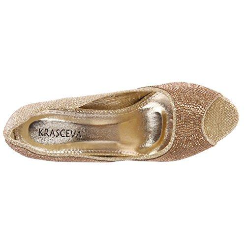 Unze Womens 'Elli' Scarpe peep toe decorate Oro