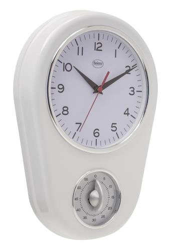 Balance 776924 Mechanical Wall Clock Oval White Wall Clock - Wall Clocks (AA, White, Plastic, 310 mm, 310 mm, 31 cm)