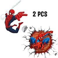 Kibi 2PCS Spider-Man 3D Wall Stickers Spiderman Wallpaper Spiderman 3D Wall Stickers Wall Stickers for Kids Bedroom Living Room Nursery Background Removable