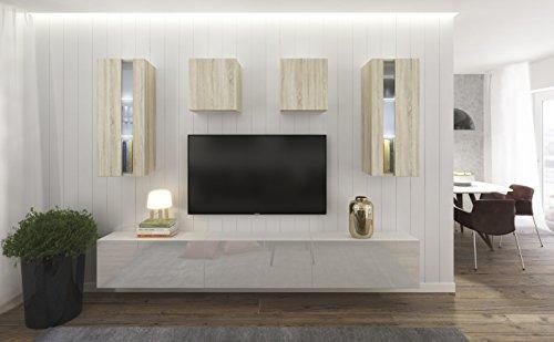Home Direct Smile N291, Modernes Wohnzimmer, Wohnwände, Wohnschränke, Schrankwand (Sonoma Eiche und Weiß Matt Base/Sonoma Eiche und Weiß HG Front (HGM42), LED RGB 16 Farben)