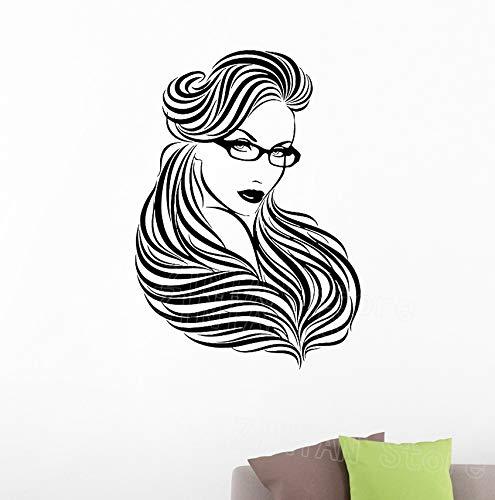 Frau brille lange haare wandaufkleber schönheitssalon mädchen zimmer vinyl wandtattoos schlafzimmer dekoration poster 59x42 cm