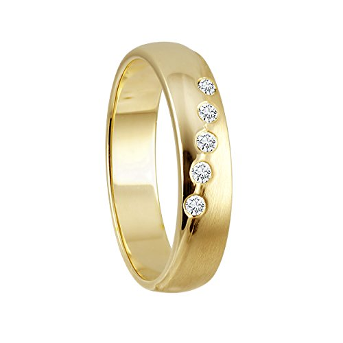 Diamond Line Damen - Ring 375er Gold 5 Diamanten ca. 0,08 ct.