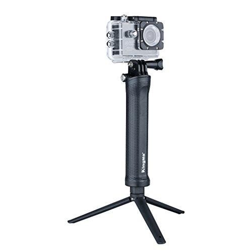 3 en 1 Plegable Extensible Selfie Stick Palo con Monopod Trípode para Cámara Deportiva y GoPro Hero 4 3+ 3 2 1 (20-54Cm, 226G, de Plástico y Acero Inoxidable), Negro