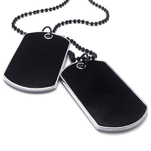 AnaZoz Edelstahl Schwarz Herren Anhänger Halskette Armee Name Hundemarke Schwarz Silber-27 Zoll (Herren Hochzeit Ring Cobalt)