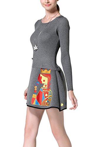 Damen Langarm Stickerei passen und Streulicht Skater Strickkleid Grey