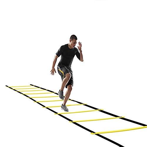 12 Rung Koordinationsleiter, QMQ Dauerhafte Fußball Koordinationsleiter Sport Trainingsleiter Geschwindigkeit Leiter Agility Ladder, 6m 12 Rung mit Tasche