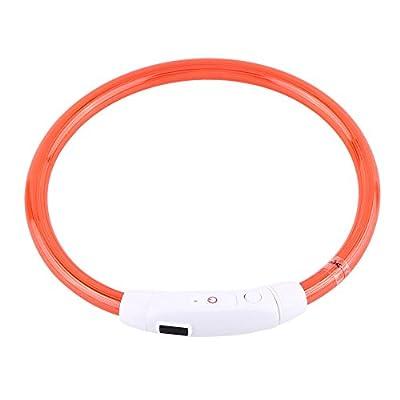 Delaman LED Leuchthalsband Haustier Sicherheit Wiederaufladbare Halsband für Hunde und Katzen 3 leuchtende Modi mit USB Ladekabel, 50 cm Länge Schneidbar