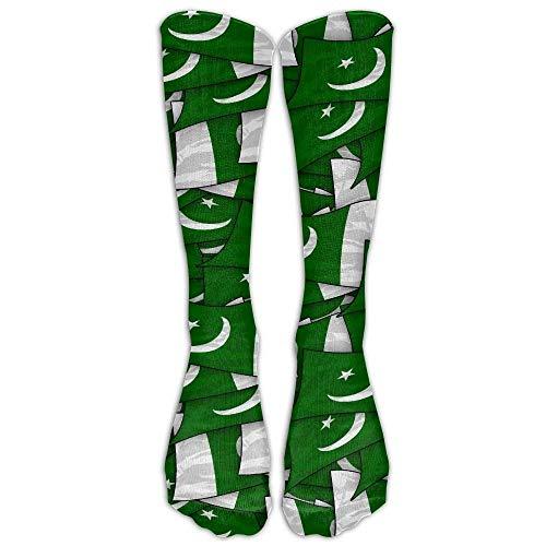 jiilwkie Pakistan Flag Wave Collage Compression Socks Soccer Socks High Socks Long Socks 60cm