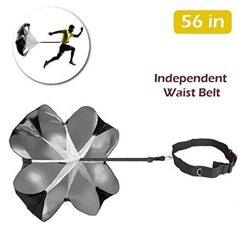 TRIWONDER 56 Zoll Geschwindigkeits-Trainings-Widerstand-Fallschirm-laufende Sprint-Rutsche für Fußball-Fußball-Sport-Energie-Geschwindigkeits-Training u. Eignung-Kern-Stärke-Training (Schwarz - 56in)