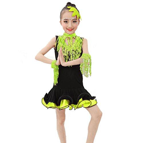 Wgwioo kinder latin tanz mädchen kleidung wettbewerb kleid pailletten zeigen performance kostüme studenten gruppe team , 3# , (Mädchen Halloween Kostüme Gruppe Drei)