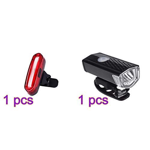 RONGYE Fahrradbeleuchtungsset USB wiederaufladbare Scheinwerfer und Rücklicht 300 Lumen LED, 3 Modi, IPX5 wasserdichte Mini-Taschenlampe Fahrradbeleuchtungen für alle Fahrräder, Straße, MTB