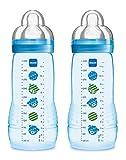 MAM 99950501 Easy Active Biberon da 330 ml, Confezione Doppia, età 4+ mesi, colore Blu