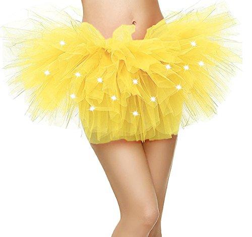 Comall Damen 5 Lagen LED Mini Tüll Tütü Rock Kostüm Party Tanz Abnutzungs Ballkleid Petticoat Unterrock Gelb