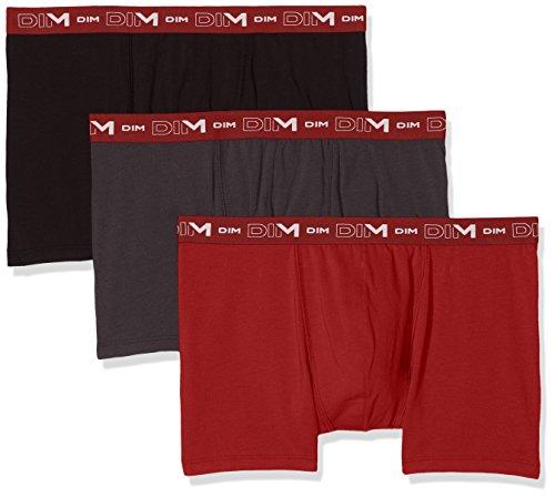 Dim - Coton Stretch - Boxer - Uni - Homme - Multicolore (Gris plomb / rouge chili / noir) - Small (Taille fabricant: 2) - Lot de 3