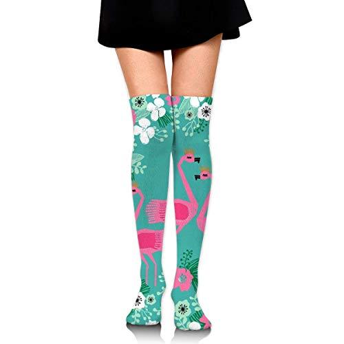 ouyjian Tropische Flamingo Florals Compression Socks Fuß Lange Strümpfe Kniestrümpfe für Männer Frauen unterstützt