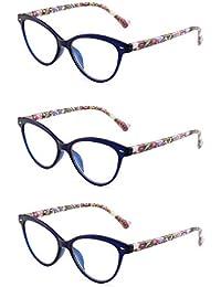 1656d733e7505 JM 3 Pack Fashion Designer Cat Eye Reading Glasses Spring Hinge Glasses for  Readers Women