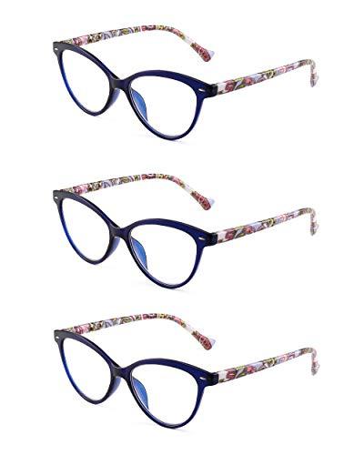 JM 3 Pack Mode Designer Katzenauge Lesebrille Federscharnier Brillen für Leser Damen +2.5 Blau