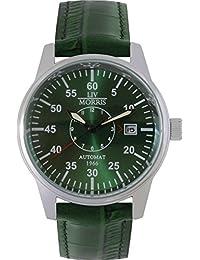 LIV MORRIS 1966GRLM01 610098076018 - Reloj para hombres, correa de cuero color verde