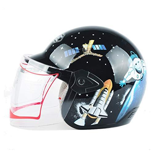 JHERT Ragazzi e Ragazze Four Seasons Assist Casco da Moto per Bambini (Color : Black Astronaut)