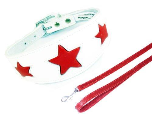 Weiß mit Rot Star Halsband Hundeleine Set 3Größen Gepolstert und Innenseite aus Wildleder Whippet Greyhound Hund Halsband -
